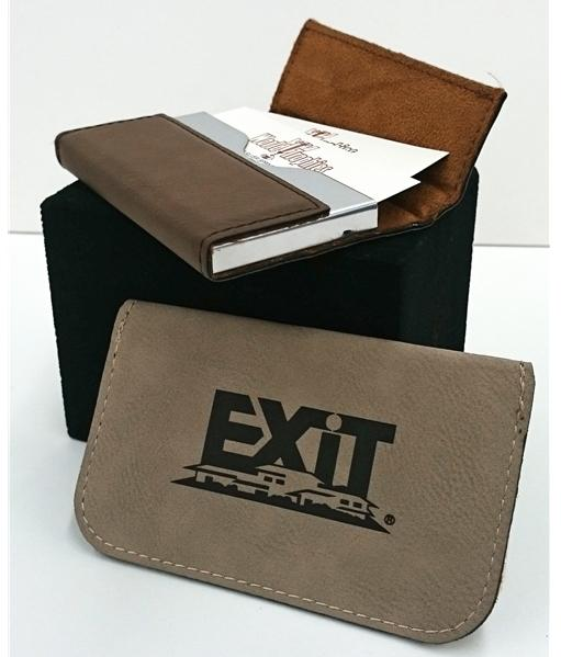 Leatherette business card holder hard case colourmoves